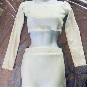 SHEIN Plush Creamy White Pencil Skirt & Crop Top